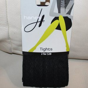 Hanes Braided Cable Tights Black  Size Medium